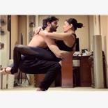 Star Actress Hot Yoga Poses with Young B...